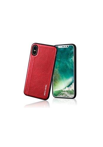 Pierre Cardin Siliconen Backcase met Leer Rood iPhone X