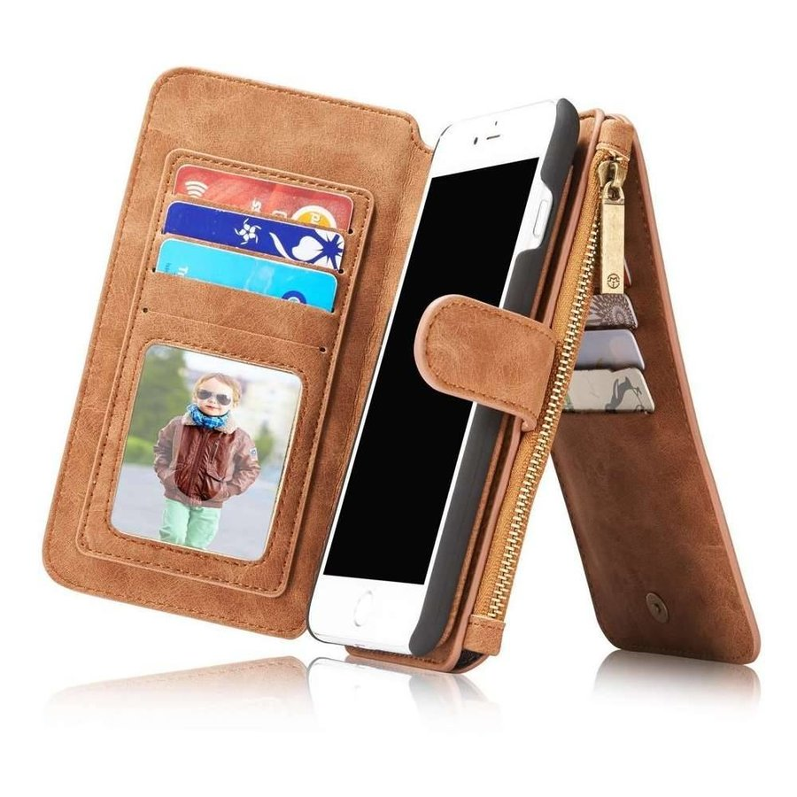 CASEME Retro Walletcase Bruin voor iPhone 7/8 Plus