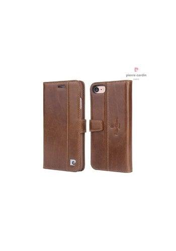Pierre Cardin Leren Bookcase Bruin iPhone 7/8