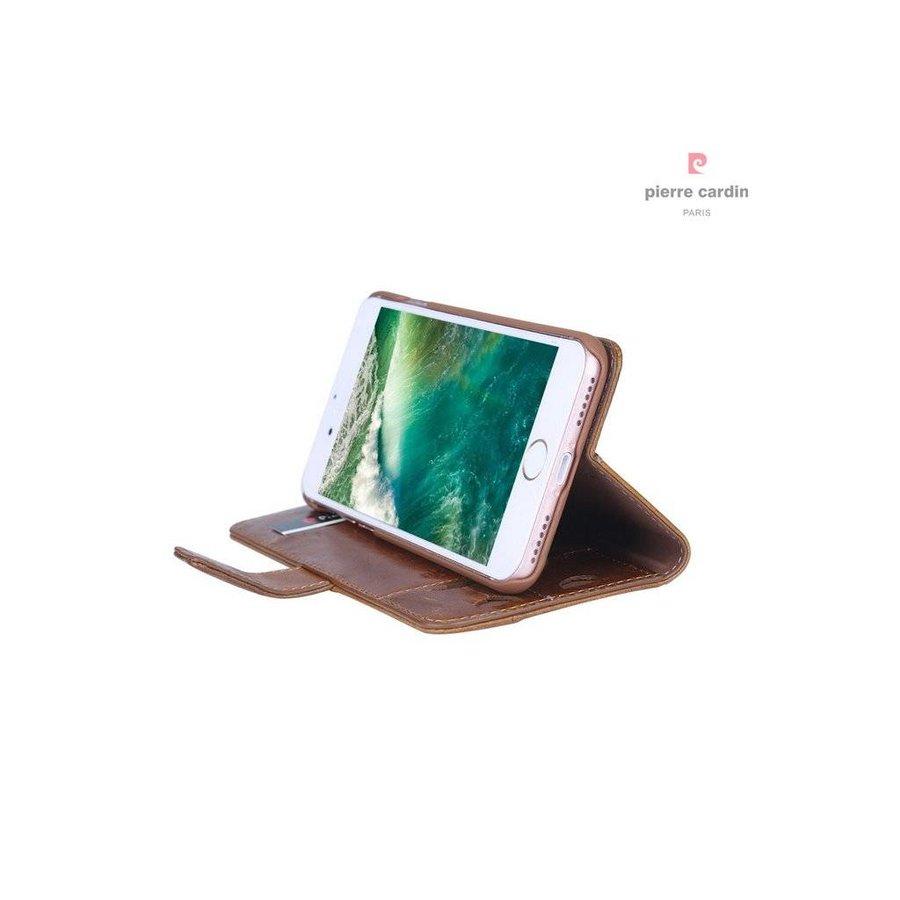 Pierre Cardin Leren Bookcase Bruin voor iPhone 7/8