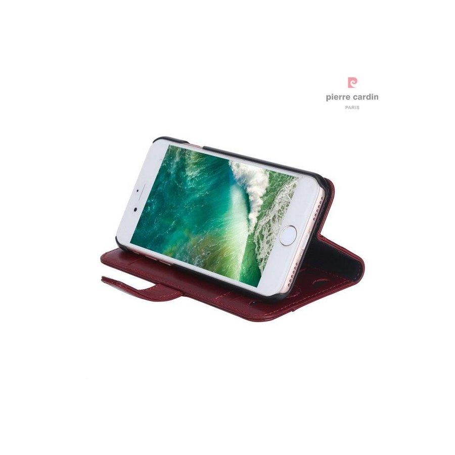 Pierre Cardin Leren Bookcase Rood voor iPhone 7/8