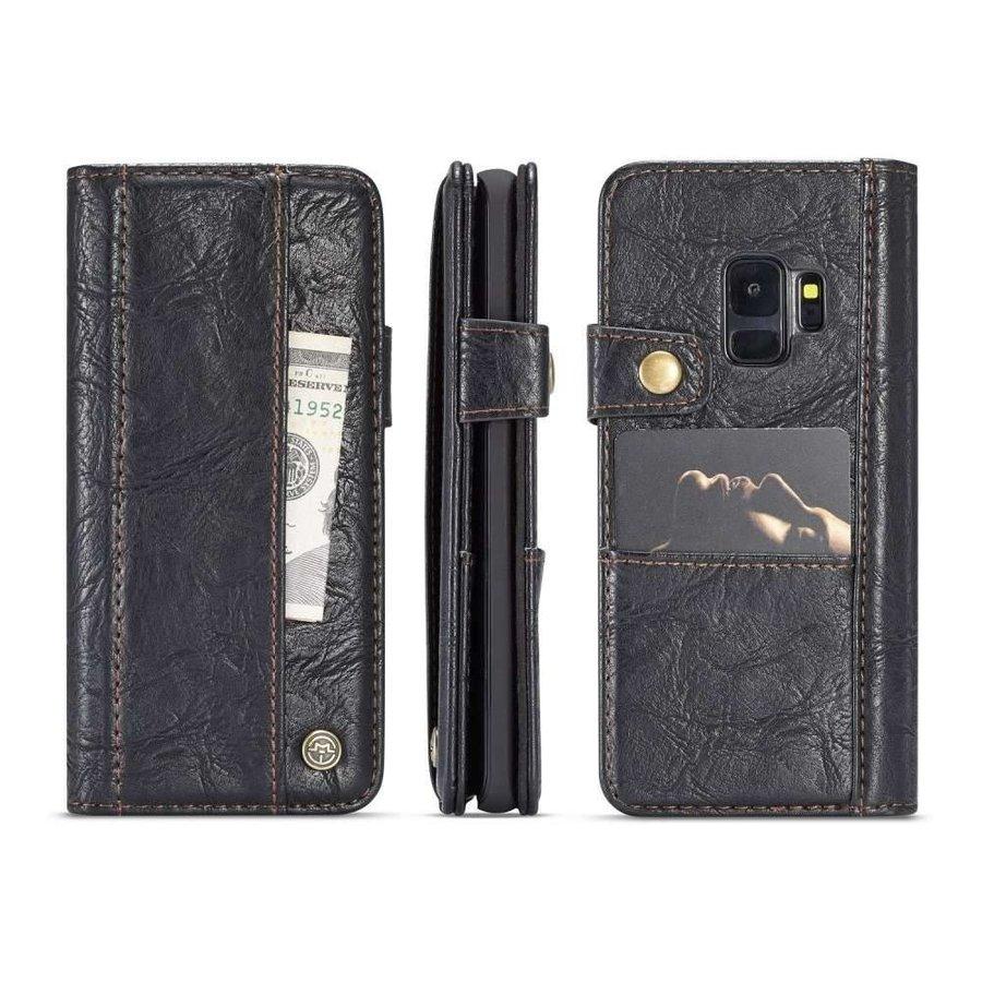 CASEME Vintage Style Portemonneehoesje Zwart voor Samsung Galaxy S9