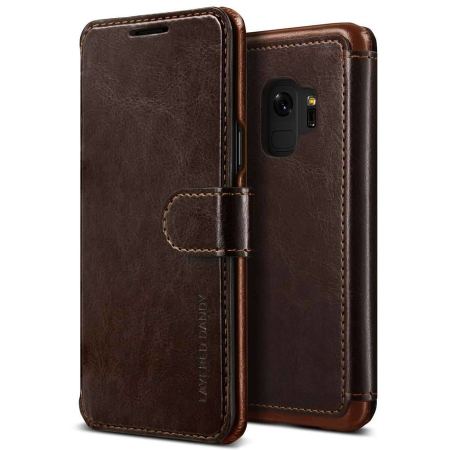 VRS Design Layered Dandy Bookcase Bruin voor Samsung Galaxy S9 - Copy