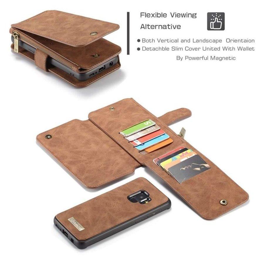 CASEME Retro Walletcase Bruin voor Samsung Galaxy S9