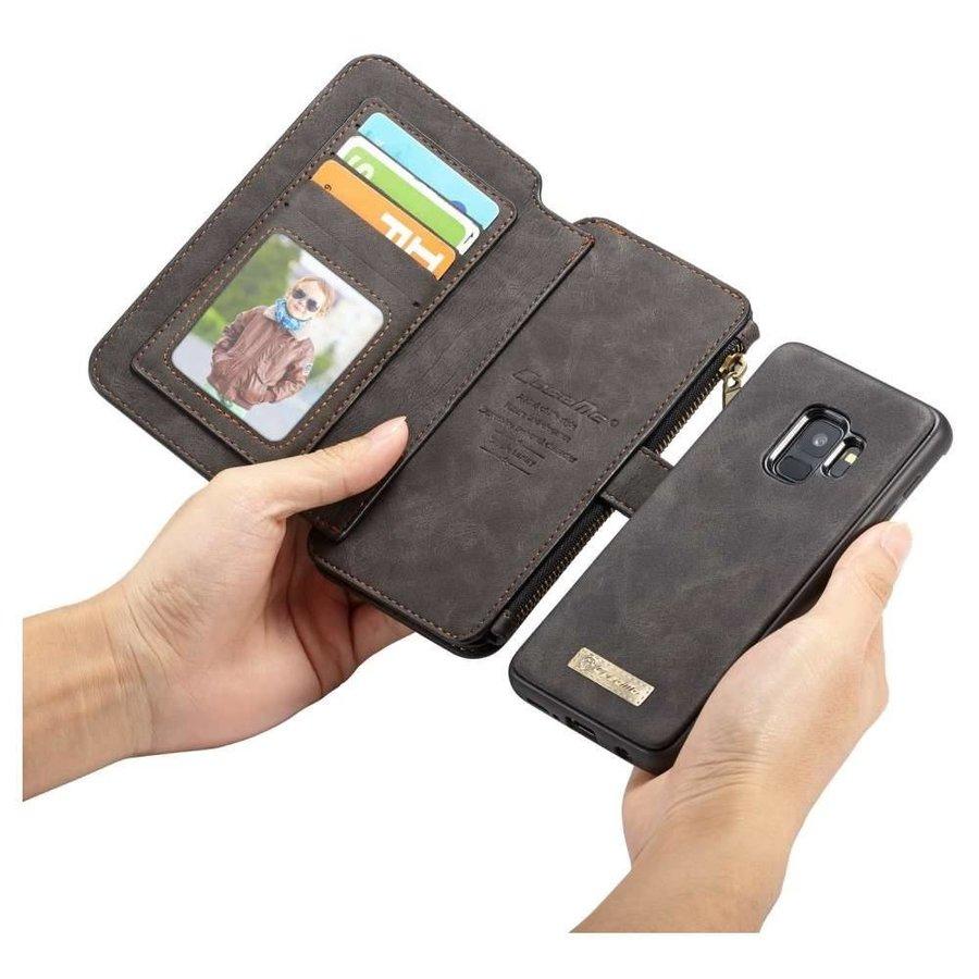 CASEME Retro Walletcase Zwart voor Samsung Galaxy S9