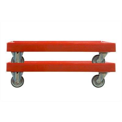 Dolly plastique roulant rouge 810x610 mm
