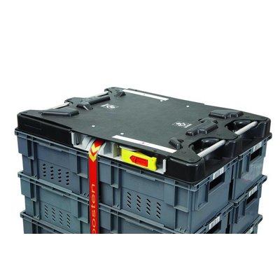 Couvercle pour caisse palette en plastique  1222x1018x93mm - avec 2 sangles