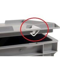Fermoirs clips pour bac plastique Euronorm