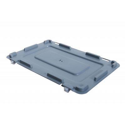 Couvercle Euronorm 300x200x16mm en plastique avec 2 charnières