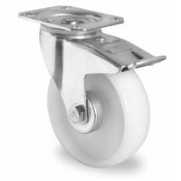 Roulette pivotante équipée d'un frein, 108 mm de diamètre - roulement à rouleaux