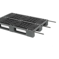 Kunststoffpalette, 3 Kufen, offenes Deck, Metallverstärkung, 1200x800x150mm