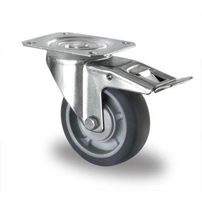Lenkrolle mit Bremse, Kugellager, PP / TPR, 100mm Durchmesser