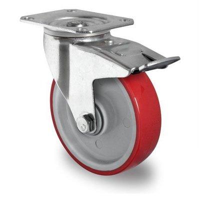 Lenkrolle mit Bremse für Rollbehälter, Kugellager, PA / PU, 100mm Durchmesser