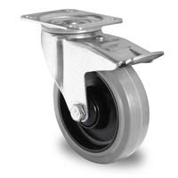 Lenkrolle, 125mm Durchmesser, Bremse, Kugellager, PA / Gummi