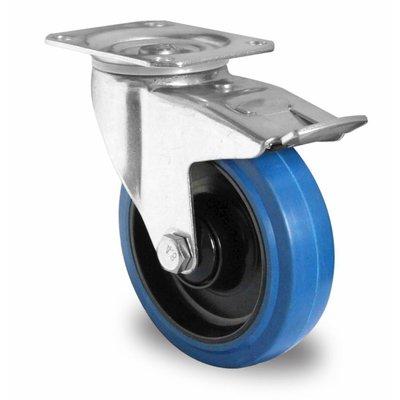 Lenkrolle mit Bremse für Rollbehälter, Kugellager, PA / Gummi, 100mm Durchmesser