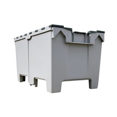Kunststoffbehälter mit Deckel für Schüttgut, nestbar, stapelbar, 1000x600x540mm