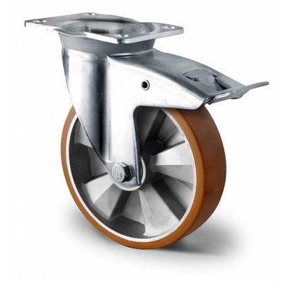 Lenkrolle für Schwerlast, mit Bremse und doppeltem Kugellager, Ø 125 mm, ALU/PU