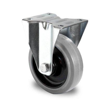 Rueda fija Ø 125 mm con rodamiento bola y rodadura PA/goma