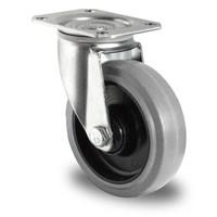 Rueda giratoria Ø 125 mm con rodamiento bola y rodadura PA/goma