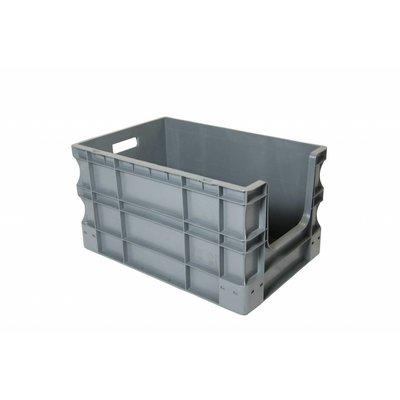 Caja apilable Euronorm 600x400x330mm con agarre abierto