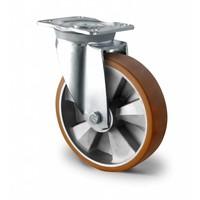 Rueda de trabajo pesado de Ø 125mm de diámetro con doble rodamiento de bolas ALU / PU