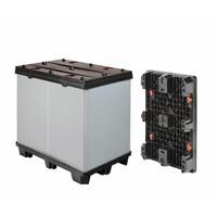 Paletbox de plástico plegable 1220x820x1180mm con 3 patines desmontables