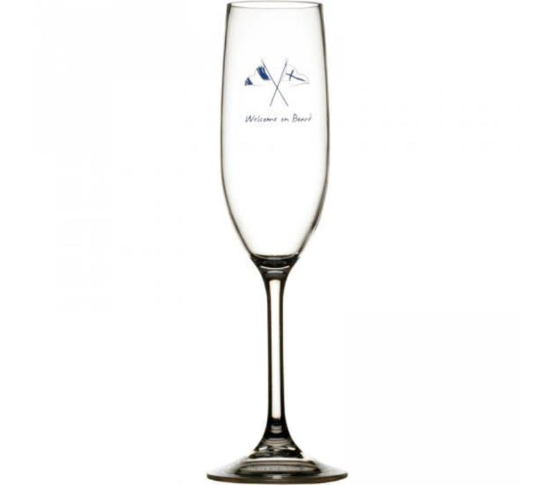 Welcome on Board - Champagneglas - H 25 cm