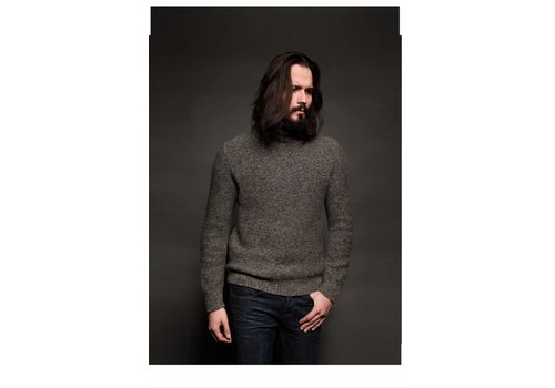 Fisherman out of Ireland FISHERMAN SEED STITCH POLO NECK SWEATER - GREY -02