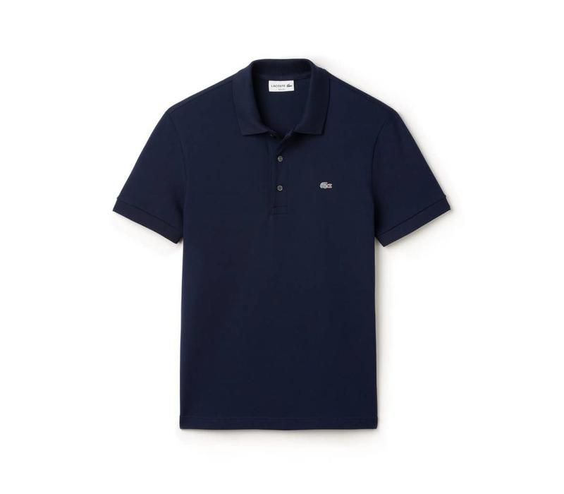 LACOSTE SLIM FIT POLO VAN EFFEN STRETCH PETIT PIQUÉ MARINE