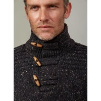 FISHERMAN TOGGLE BUTTON COLLAR SWEATER BARK