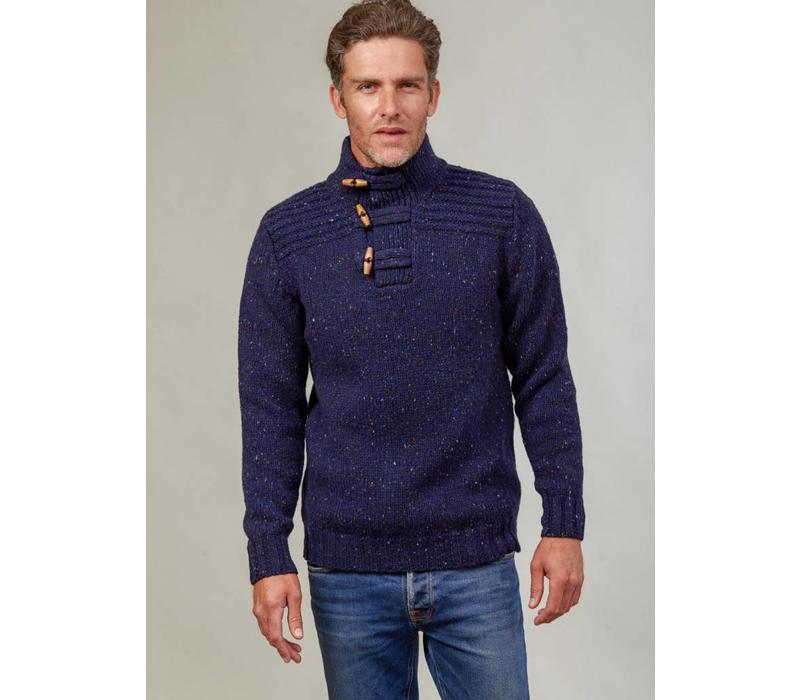 FISHERMAN OUT OF IRELAND  TOGGLE BUTTON COLLAR SWEATER NAVY