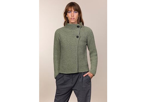 Fisherman out of Ireland FISHERMAN OUT OF IRELAND HORIZONTAL RIBBED 2 BUTTON CARDIGAN CELERY