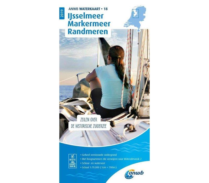 ANWB Waterkaart 18 IJsselmeer, Markermeer, Randmeren 2019