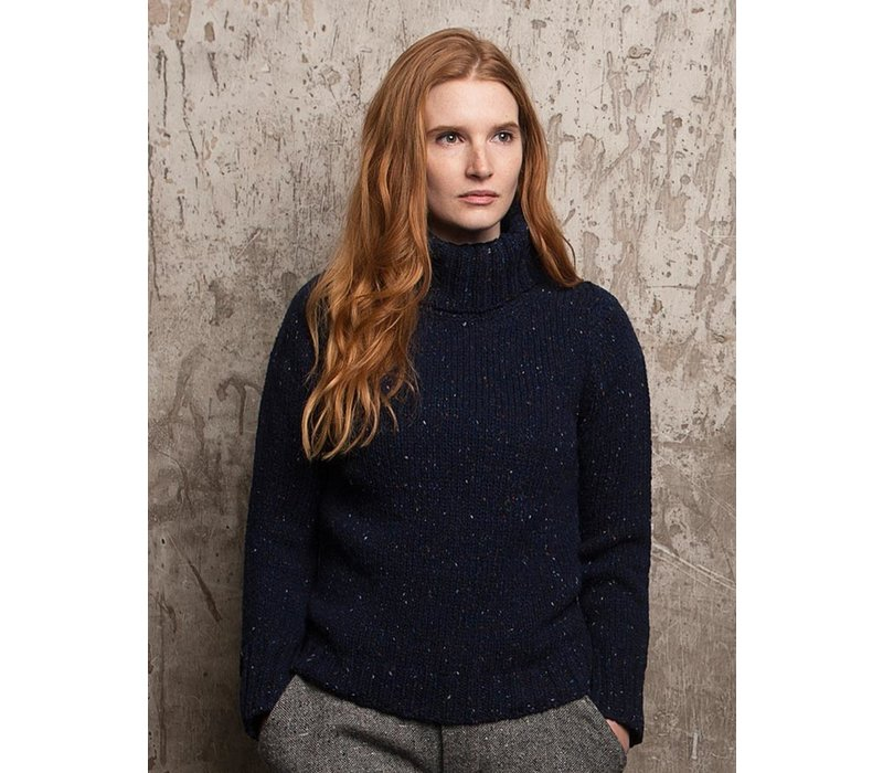 FISHERMAN OUT OF IRELAND POLO NECK SWEATER NAVY