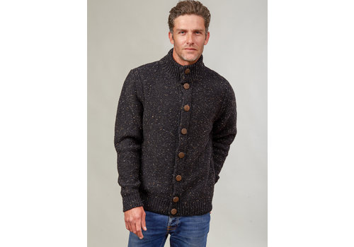 Fisherman out of Ireland FISHERMAN OUT OF IRELAND HIGH NECK BUTTONED CARDIGAN GREYSTONE