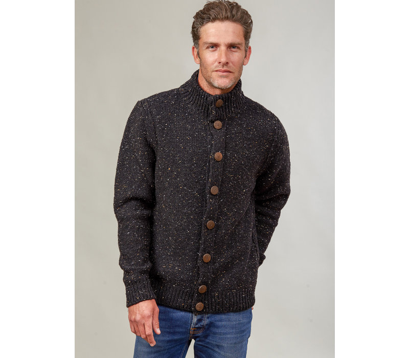 FISHERMAN OUT OF IRELAND HIGH NECK BUTTONED CARDIGAN GREYSTONE