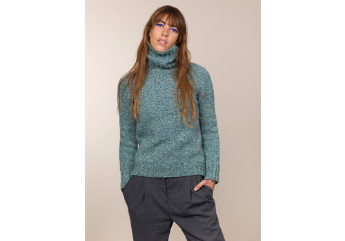Fisherman out of Ireland FISHERMAN OUT OF IRELAND POLO NECK SWEATER SEA GREEN