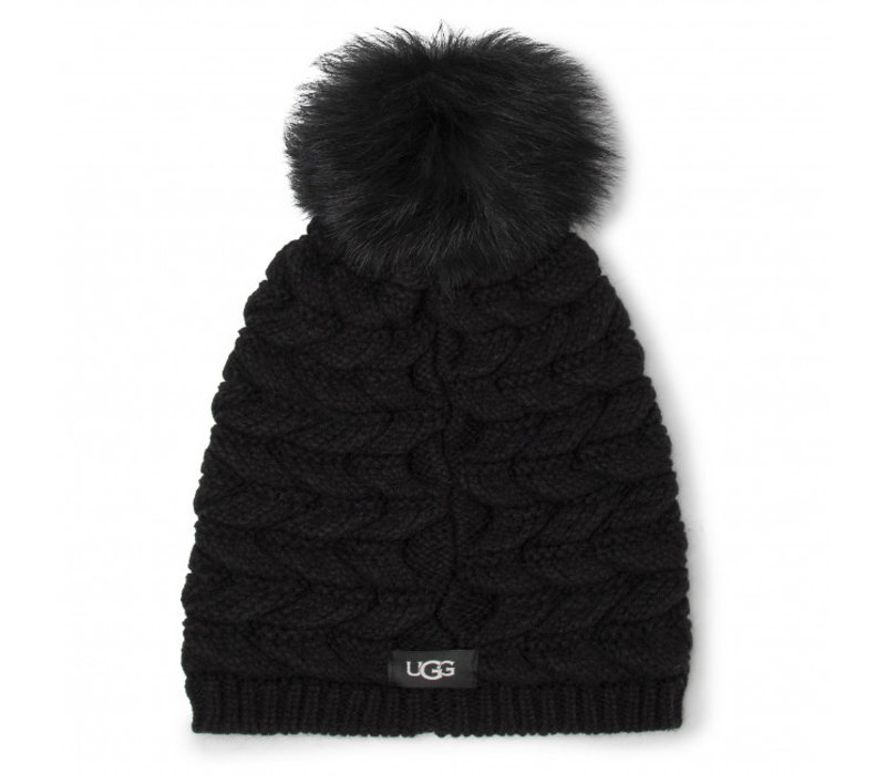 Women's Cable Hat With Pom Black