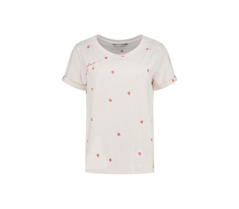 POM T-shirt Clover Hearts Ecru by Katja