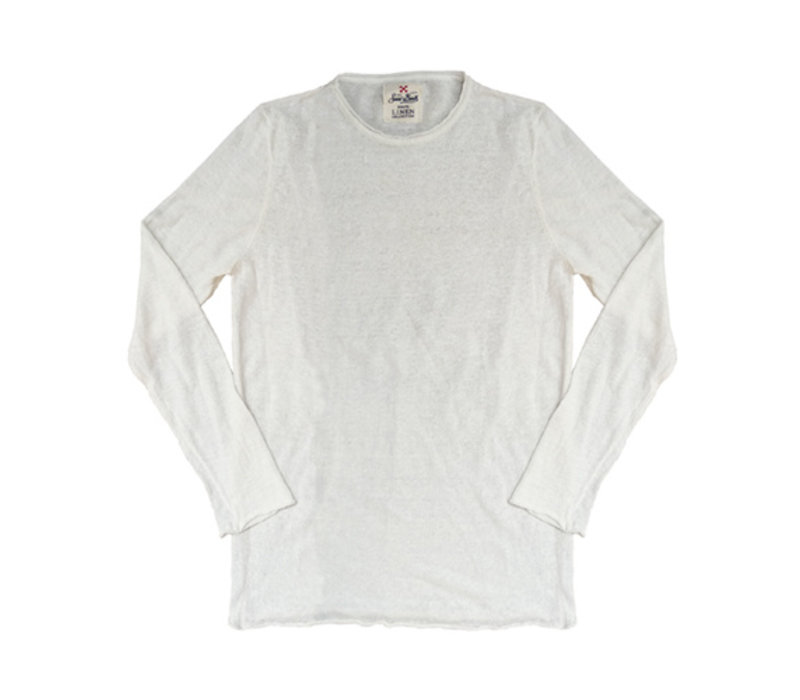 Mc2 Saint Barth Ecstasea Linen Knit Long Sleeves Off White