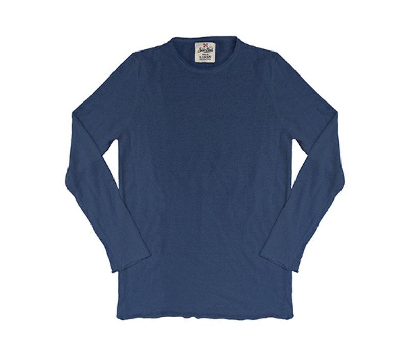 Mc2 Saint Barth Ecstasea Linen Knit Long Sleeves Blue Navy
