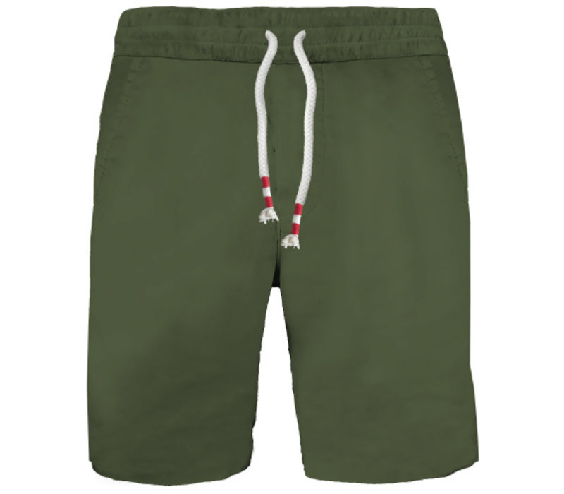 Mc2 Saint Barth Randle Raw Cut Cotton Fleece Short Military