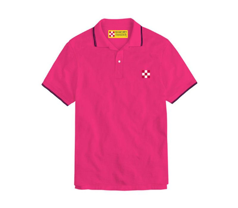 Mc2 Saint Barth Beverly Hills Light Stretch Cotton Piquet Polo Rosa Fluo