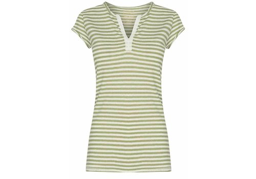 Mos Mosh Mos Mosh Troy Stripe Tee Oil Green