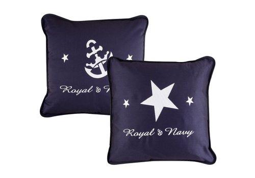 ARC Marine Royal Cushion Blue Embroidered - 40X40 met vulling