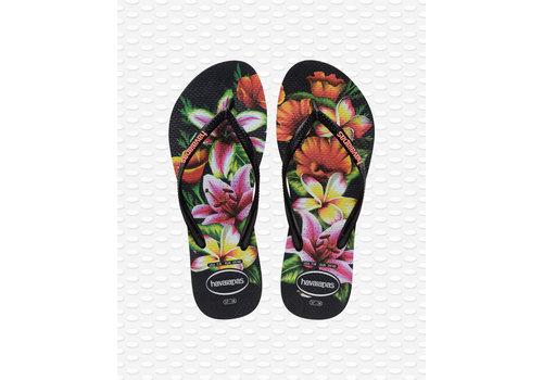 Havaianas Havaianas Flip Flop Women Slim Floral Black/Black