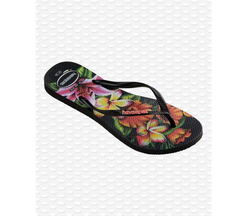 Havaianas Flip Flop Women Slim Floral Black/Black