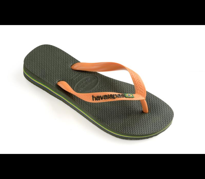 Havaianas Flip Flop Brazil Logo Green Olive/Vibrant Orange