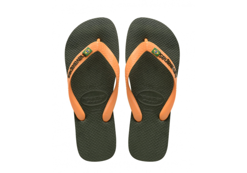 Havaianas Havaianas Flip Flop Brazil Logo Green Olive/Vibrant Orange
