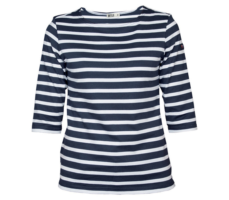 Batela Navy Striped T-Shirt NavyBlue White